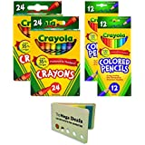 Crayola Crayons 24 Count, Pack of 2 | Crayola Colored Pencils 12 Count, Pack of 2, Assorted Colors | Includes 5 Color Flag Set