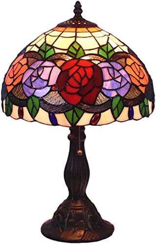 Tiffany Style Table Lamps Roses Flora Desk Light 18 Inches Tall Stained Glass 12 Inches Wide Lamp Shade Vintage Antique Accent Lamp for Living Bedside Room Coffee College Dorm