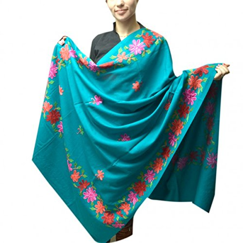 c4b46a8772 Sea Green Colour High Quality Kashmiri Aari Work Shawl: Amazon.in: Clothing  & Accessories
