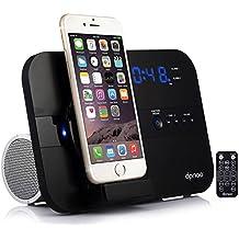 [Patrocinado] DPNAO - Altavoz para iPhone, iPhone, iPad Mini, con Bluetooth y radio FM, puerto USB Snooze (carga y carga certificada)