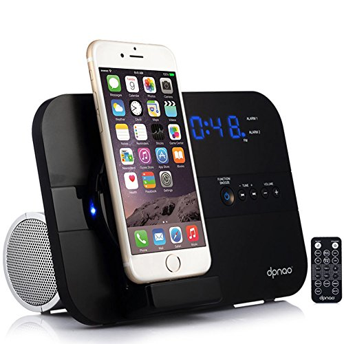 - dpnao iPhone Alarm Clock Radio with Charging Docking Station Speaker USB Charge Port AUX Remote Apple MFi Certified (Black)