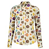 KIMIST Women's Fashion Floral Button Down Long Sleeve Shirt Casual Blouse (Large, Owl)