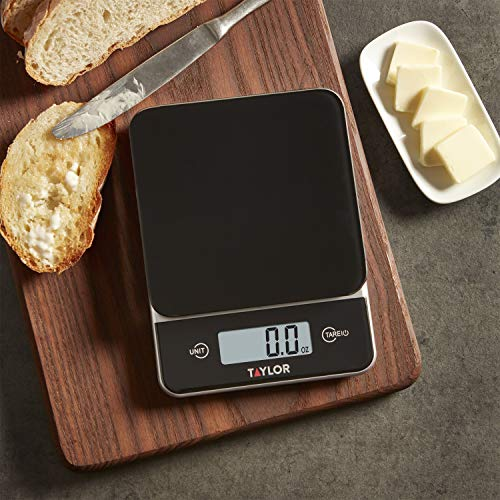 Taylor Precision Products Glass Top Food Scale with Touch Control Buttons, 11 lb Capacity, Black
