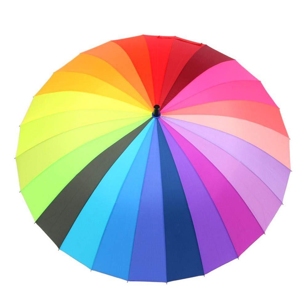 ad609000e5a0 Rainbow Umbrella Double Hand Open Long Handle Straight Anti-UV Sun ...