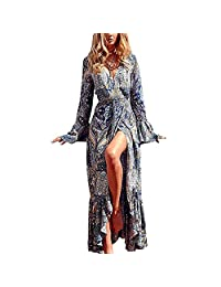 Women's Summer Boho V Neck Floral Print Long Sleeve Split Maxi Long Dress