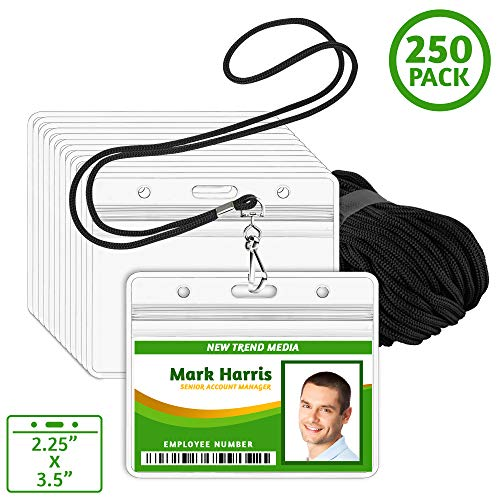 (EcoEarth Lanyard with Horizontal ID Badge Holder (Black, 2.25x3.5, 250 Pack), Resealable Clear Tag and Lanyards, Lanyard ID Card Holder Bulk, Name Badge Lanyard Set, Plastic Badge Holder with Zipper)