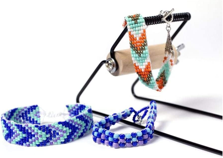 Wood/&Stainless Steel Beading Loom Lightweight Sturdy Jewelry Loom for DIY Necklace Bracelet Weaving