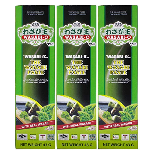 WASABI-O, Wasabi Paste with Real Wasabi 1.24 oz. (43 g) - 3 Pack, Dipping with Sushi and Foods - Vegetarian and Vegan, Family Size