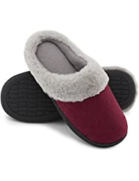 Women's Woolen Fabric Memory Foam Anti-Slip House Slippers, Breathable Indoor Shoes