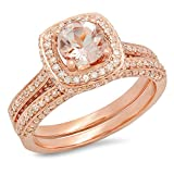 14K Rose Gold Round Morganite & White Diamond Bridal Split Shank Halo Engagement Ring Set (Size 5.5)