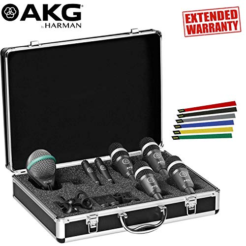 (AKG Drum Set Concert 1 Professional Drum Microphone Set - Includes- 1-Year Extended Warranty AND Cable)