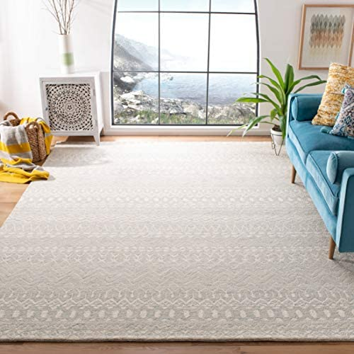Safavieh MLP502K-9 Micro-Loop Collection MLP502K Aqua and Ivory Premium Wool 9' x 12' Area Rug