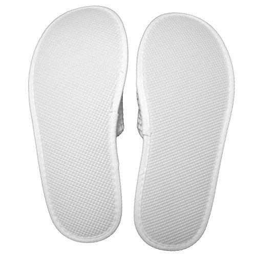 Waffle Slippers Coloured White 6 SPA Toed Closed One Size xFPqP0X