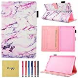 Fire HD 8 Case, Case for Kindle Fire HD8, Dluggs Slim Fit Folio Stand Smart Cute Pattern Wallet Case with Auto Wake/Sleep Feature for All-New Amazon Fire HD 8 Inch Tablet, Rose Marble