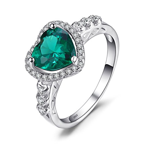 JewelryPalace Heart Of Ocean 1.8ct Simulated Green Russian Nano Emerald Love Forever Halo Promise Ring 925 Sterling Silver Size 8
