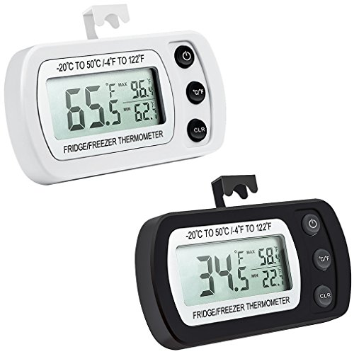 Waterproof Digital Refrigerator Thermometer, Freezer Room Thermometer, LCD Display, ℃/℉ Switch + Max/Min Record, for Kitchen, Home, Restaurants, Bars, Cafes (Battery Included) (2pcs) by FOREV