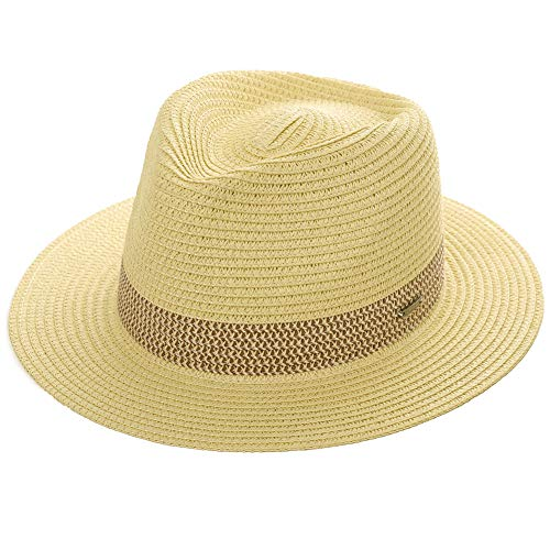 Mens Packable Straw Fedora Panama Sun Summer Beach Derby Band Hat for Women Beige 57-58cm ()