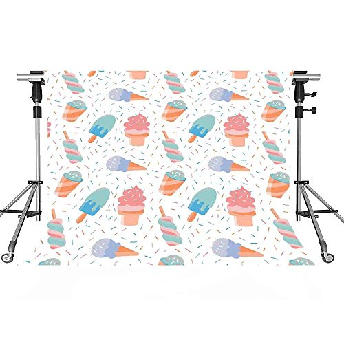 Ice Cream Backdrop Cartoon Photography Background MEETSIOY 7x5ft Themed Party Photo Booth YouTube Backdrop LXMT1098 ()