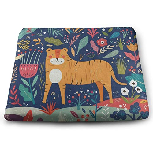Ladninag Seat Cushion Forest Tree Floral Tiger Chair Cushion Fantastic Offices Butt Chair Pads for Outdoors