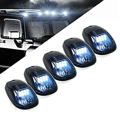 KOMIA 5pcs 12 LEDs White LED Cab Roof Top Marker Running Lights for 2003-2020 Dodge Ram Truck SUV Pickup 4x4 2003-2016 Dodge Ram 1500 2500 3500 4500 5500 (Black Smoked Lens & White Led): Automotive
