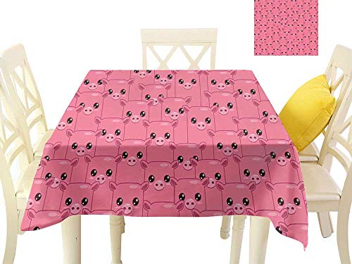 WinfreyDecor Easy Care Tablecloth Smily Square Faced Little Pigs Eyes Noses Crowd Herd of Animals Pattern W70 x L70, Indoor Outdoor Camping Picnic