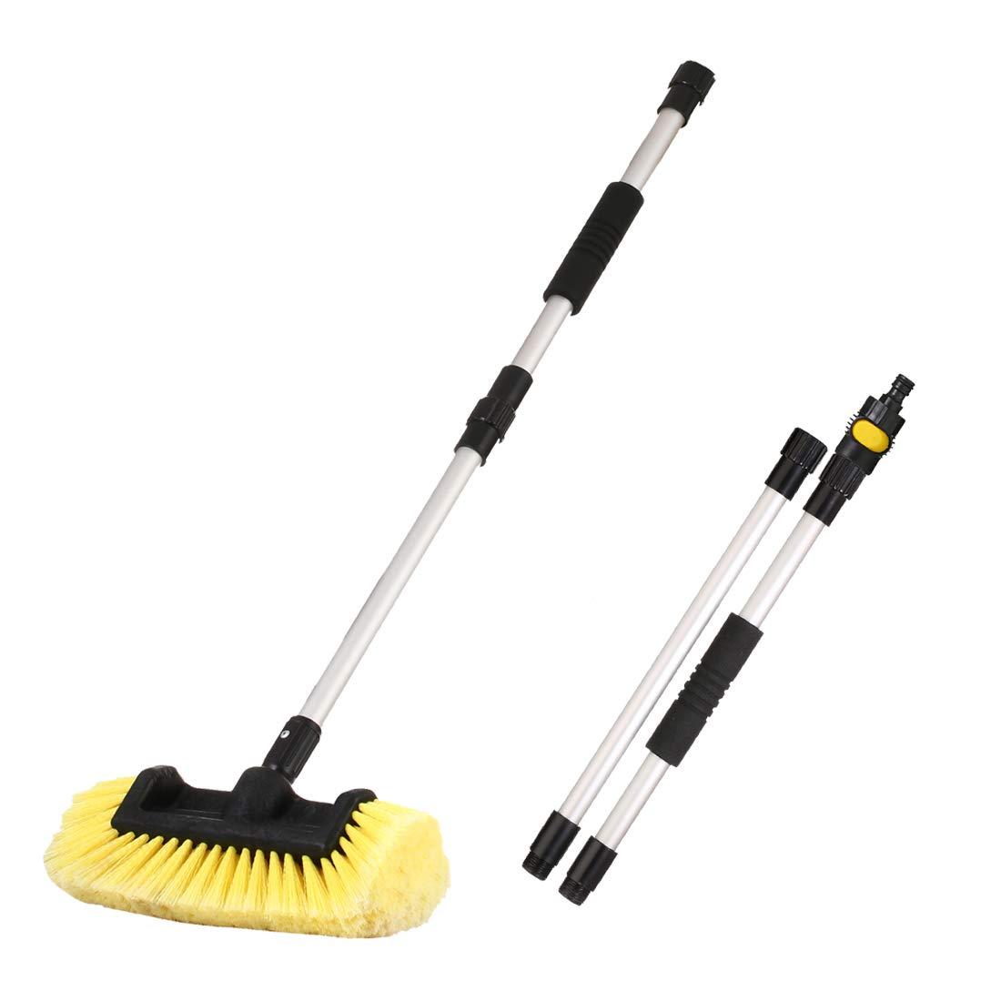 CARCAREZ 10'' Flow-Thru Washing Brush Head, Green (Brush with Dismountable Handle)