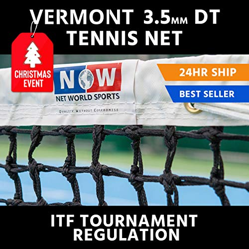 Vermont 3.5mm Double Top Tennis Net (22lbs) | Championship Standard Tennis Net | Wimbledon Style Canvas Headband | Premium 3.5mm Braided HDPE Twine | 42ft [Doubles Regulation] (Standard Headband)