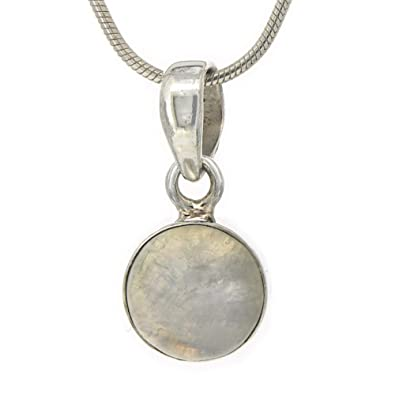 Nova Silver Bemine Small Oval Moonstone Pendant with 46cm Silver Snake Chain cdINV6kH1t