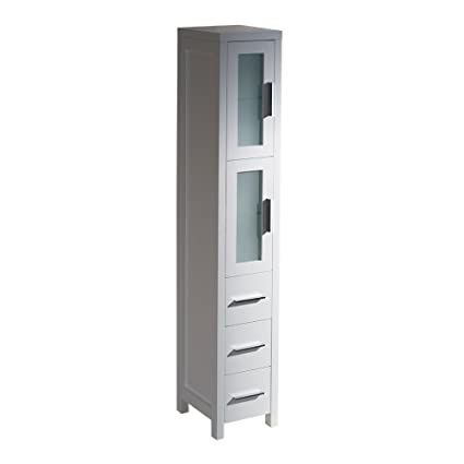 Fresca Bath FST6260WH Torino Bathroom Linen Side Cabinet, Tall, White