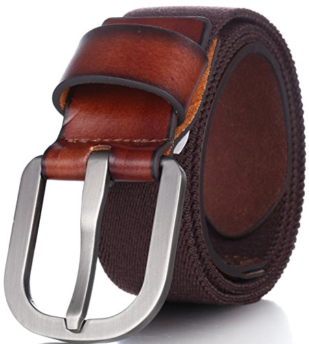 Men's Elastic Belt, Leather Front - Adjustable Stretch Strap - by Marino Ave - Brown - - Range 15 32 Function