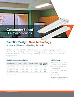 Lithonia Lighting SBL2 LP840 LED Surface Wraparound, 2', White