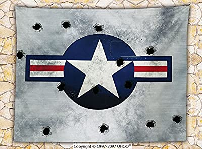 Airplane Decor Fleece Throw Blanket Army Logo USAF Star Round on Grunge Metal with Bullet Holes Aircraft Art Print Throw