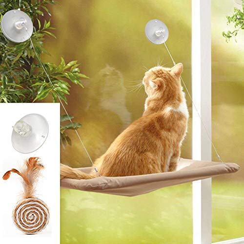 ZALALOVA Cat Window Perch, Cat Window Seat Bed Hammock Space Saving Design with 1Pc Cat Toys 1Pc Extra Suction Cup Cat Shelve All Around 360° Sunbath Holds Up to 50lbs for Any Cat Size