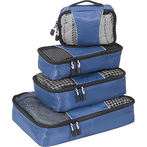 (eBags Small/Medium Packing Cubes for Travel - Organizers - 4pc Set - (Denim))