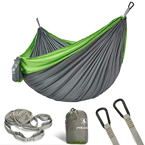 (pys Double Portable Camping Hammock with Straps Outdoor -Nylon Parachute Hammock with Tree Straps Set with Max 1200 lbs Breaking Capacity, for Backpacking, Hiking, Travel (Gray+Fruit Green))