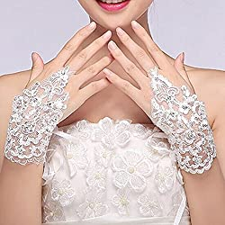 Sunshinesmile Exquisite Fingerless Rhinestone Bridal Gloves Love Prom Gloves