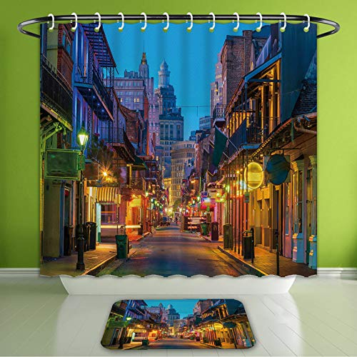 Waterproof Shower Curtain and Bath Rug Set Home Decor Pubs and Bars with Neon Lights in The French Quarter New Orleans USA Bath Curtain and Doormat Suit for Bathroom Extra Long Size 72
