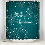 EZON-CH Customize Extral Long Large Waterproof Merry Christmas Snowflake Print Polyester Fabric Home Hotel Apartment Bathroom Shower Curtain 66x72IN