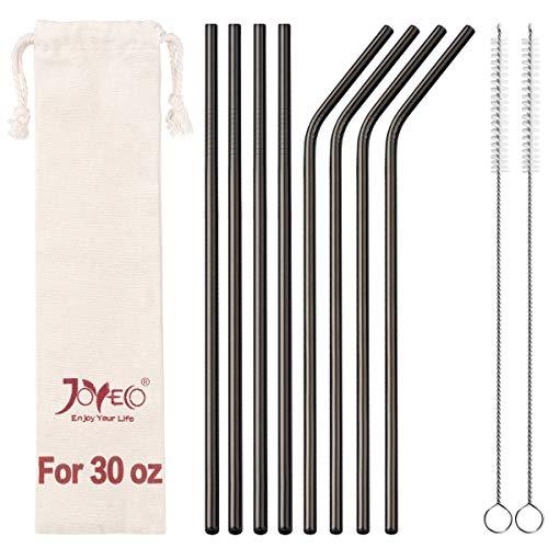 JOYECO 8 Pcs Stainless Steel Straws Drinking Reusable, Extra Long for 20oz 30oz Tumblers,10.5 x 0.24, Black