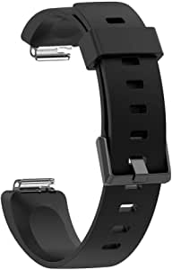 Silicone Watch Bracelet From Liger Compatible with Fitbit Inspire and Inspire HR Black Color Large Size