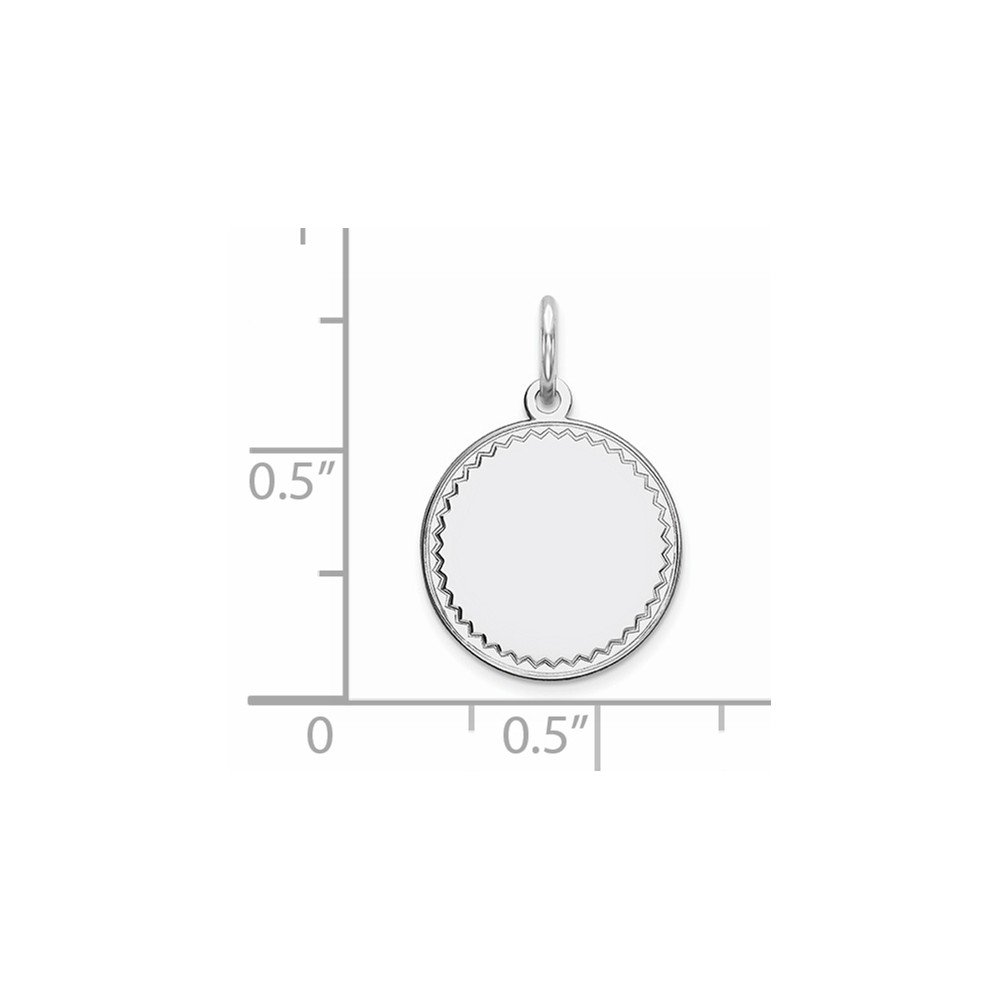 13mm x 20mm Sonia Jewels Sterling Silver Rhod-Plated Eng Rnd Polish Front//Satin Back Disc Pendant Charm