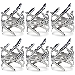 DII Antique Chic Napkin Rings for Dinner Parties, Weddings Receptions, Family Gatherings, or Everyday Use, Set Your Table With Style - Silver Branch, Set of 6