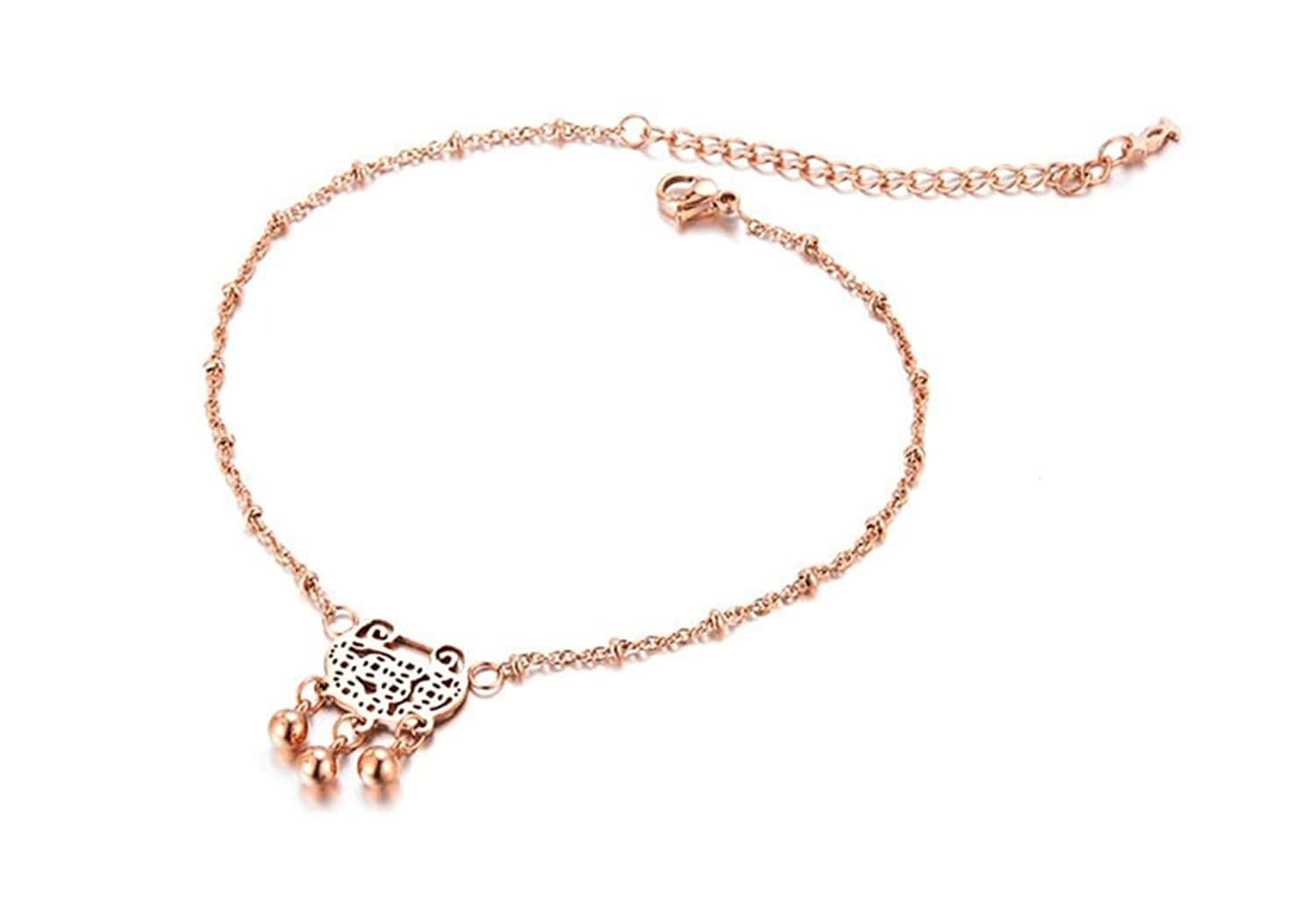 KnBoB Anklet Women Gold Plated with Pendant Lovely Lock Beach Barefoot Foot Chain Rose Gold
