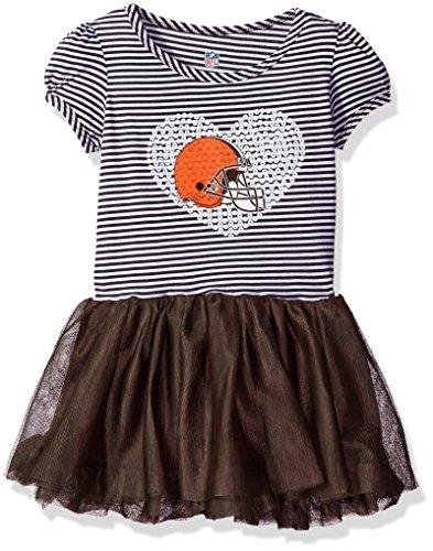 """NFL Toddler""""Celebration"""" Sequin Tutu Dress-Pewter -3T, Cleveland Browns"""