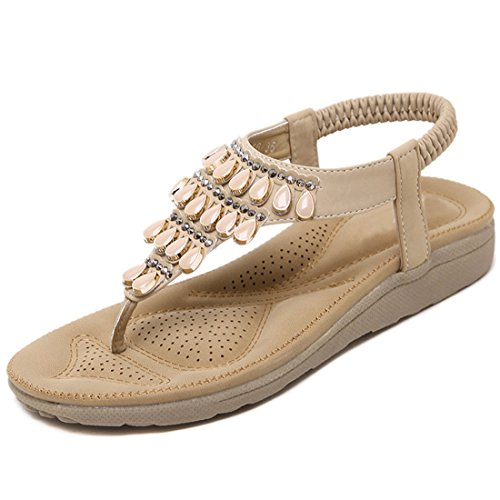 VECJUNIA Ladies Beaded Clip Toe Flip Flops T-strap Breathable Flat Slip On Sandals Elegant Shoes apricot 3z9vNtavjW