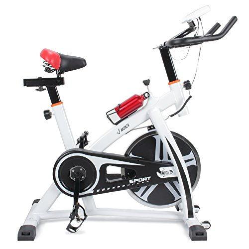 Akonza Pro Exercise Bike Indoor Cycling Bicycle Heart Pulse Trainer Gym w/ Water Bottle Holder, White