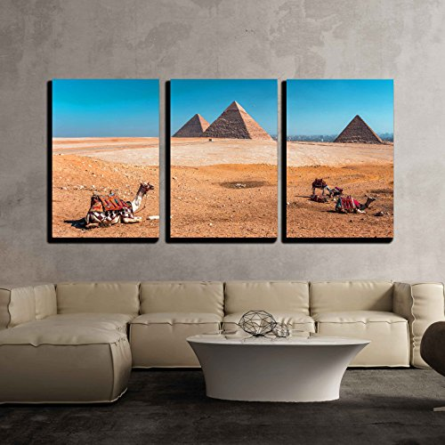 wall26 - 3 Piece Canvas Wall Art - Pyramid of Giza in Egypt - Modern Home Decor Stretched and Framed Ready to Hang - 16