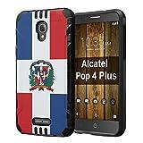 Alcatel POP 4 Plus Case, Capsule-Case Hybrid Dual Layer Slim Defender Armor Combat Case (Black) Brush Texture Finishing for Alcatel POP 4 Plus 4G LTE - (Dominican Republic Flag)