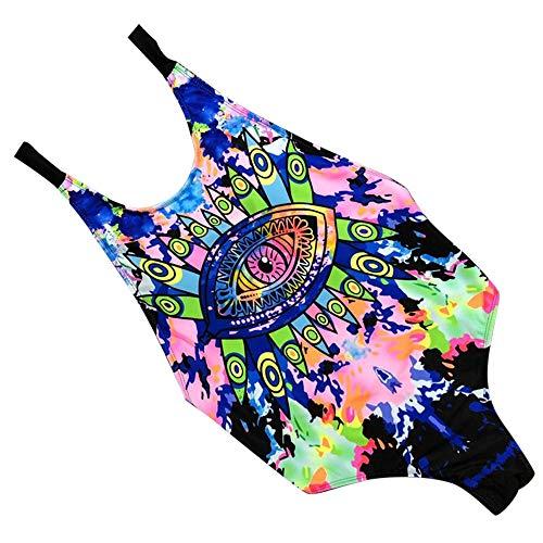 Balakie Swimsuit for Women, Sexy One Piece Bikini Push-Up Padded Swimwear print Slinky multi-rope Bathing Suit (S, Blue)