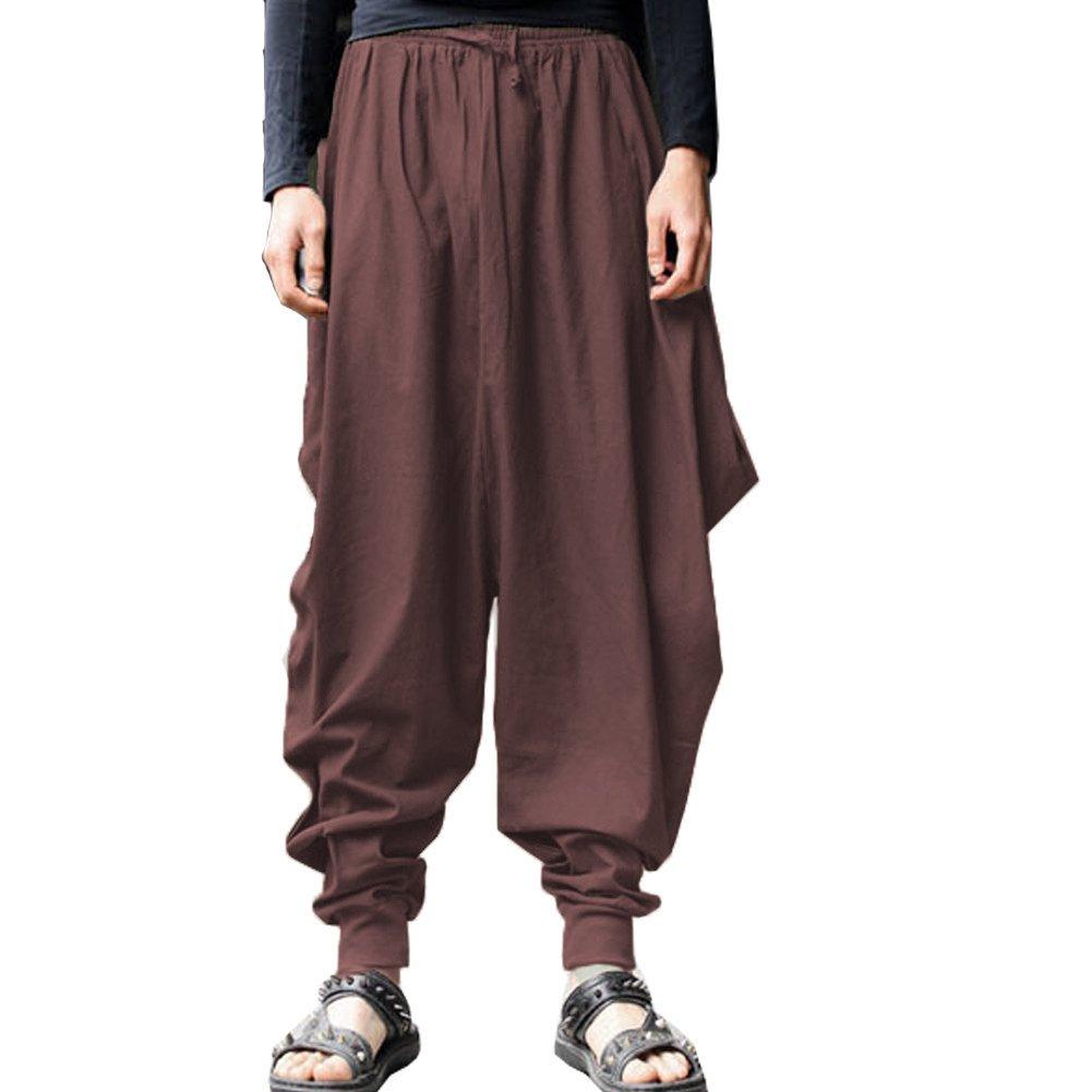 ONTTNO Men's Floral Stretchy Waist Casual Ankle Length Pants NO0017Black2